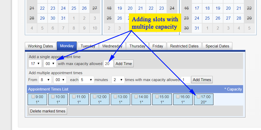 Multiple capacity time-slots
